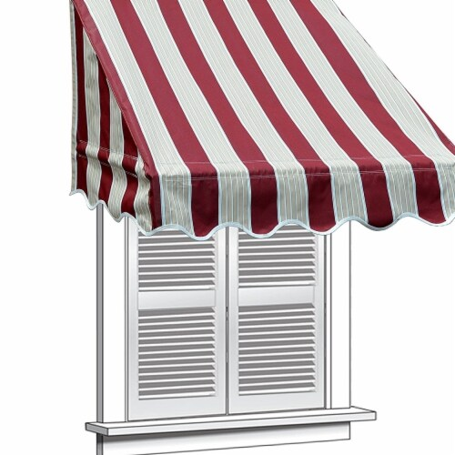 Aleko WAW4X2MSTRRE19-UNB 4 x 2 ft. Multistripe Window Door Canopy Decorator Awning, Red Perspective: front