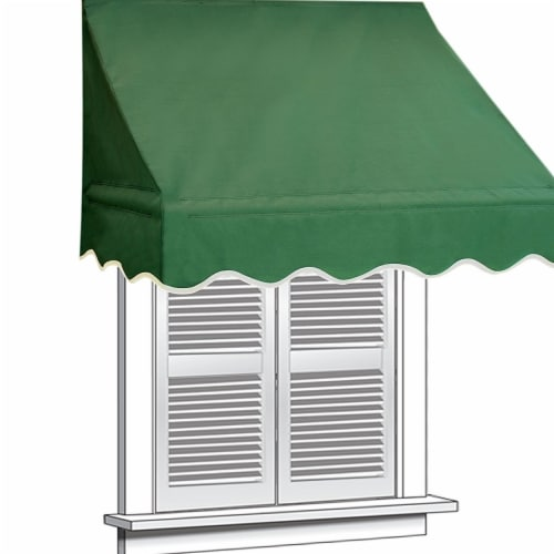 Aleko WAW4X2GREEN39-UNB 4 x 2 ft. Window Door Canopy Decorator Awning, Green Perspective: front