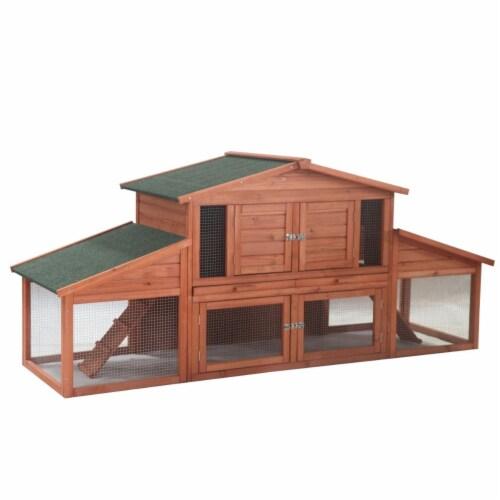 Aleko ACCRH91X28X39-UNB Chicken Rabbit Hutch Cage for DXR031-A & DXR031-B - 91 x 28 x 39 in. Perspective: front