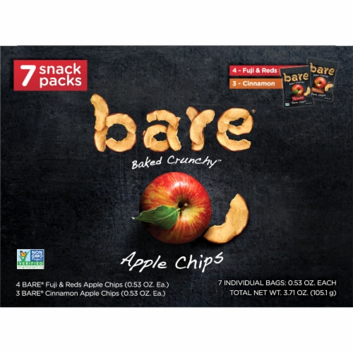 Bare Baked Crunchy Apple Chips Snack Pack Perspective: front