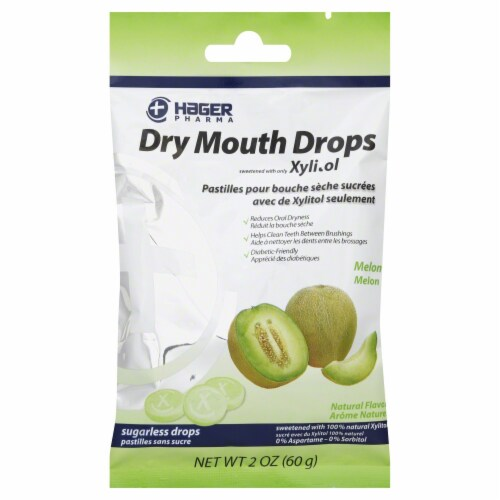 Hager Pharma Melon Dry Mouth Drops Perspective: front
