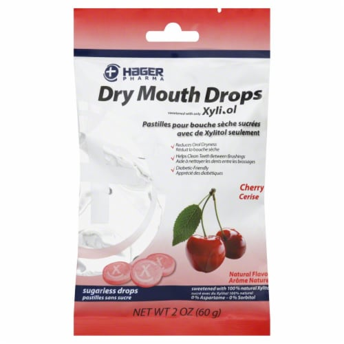 Hager Pharma Cherry Dry Mouth Drops Perspective: front