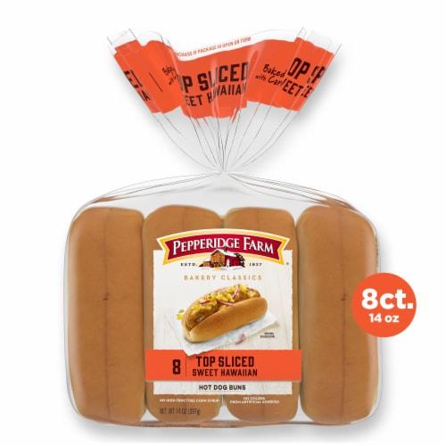Pepperidge Farm Bakery Classics Top Sliced Sweet Hawaiian Hot Dog Buns Perspective: front