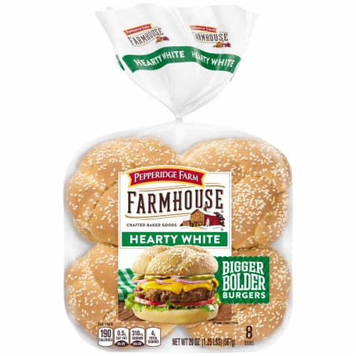 Pepperidge Farm Farmhouse Hearty White Hamburger Buns Perspective: front