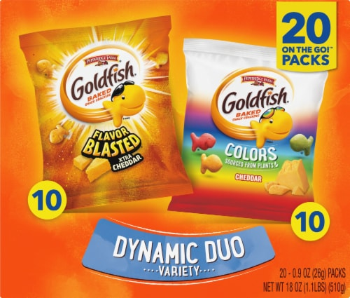 Goldfish Colors & Flavor Blasted Crackers Variety Pack Perspective: front
