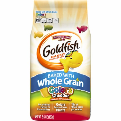 Goldfish Colors Cheddar Whole Grain Baked Snack Crackers Perspective: front