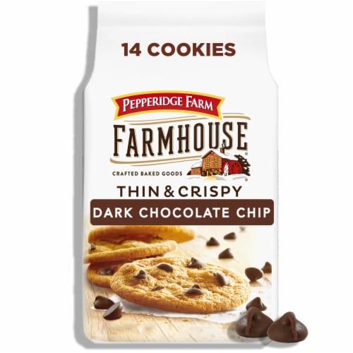 Pepperidge Farm Farmhouse Thin & Crispy Dark Chocolate Chip Cookies Perspective: front