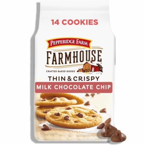 Pepperidge Farm Farmhouse Thin & Crispy Milk Chocolate Chip Cookies Perspective: front