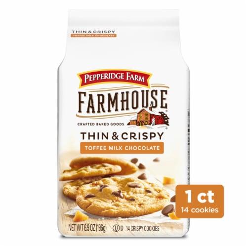 Pepperidge Farm Farmhouse Thin & Crispy Toffee Milk Chocolate Cookies Perspective: front