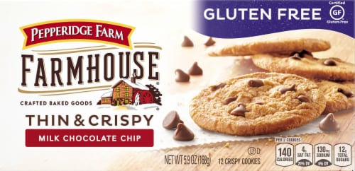 Pepperidge Farm Farmhouse Gluten Free Thin & Crispy Milk Chocolate Chip Crispy Cookies Perspective: front