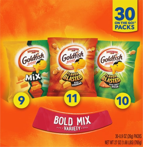Pepperidge Farms Bold Mix Variety Goldfish Baked Snack Crackers Snack Bags Perspective: front