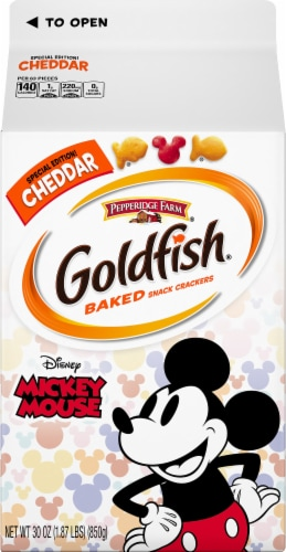 Goldfish Mickey Mouse Cheddar Baked Snack Crackers Perspective: front