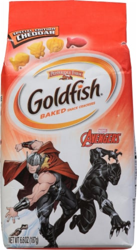 Goldfish Special Edition Marvel Avengers Cheddar Baked Snack Crackers Perspective: front