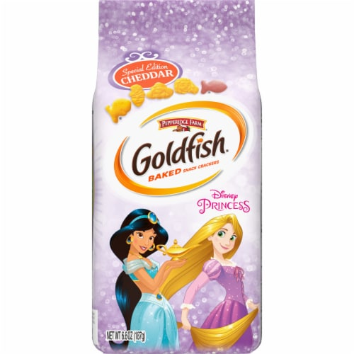 Goldfish Special Edition Disney Princess Cheddar Baked Snack Crackers Perspective: front
