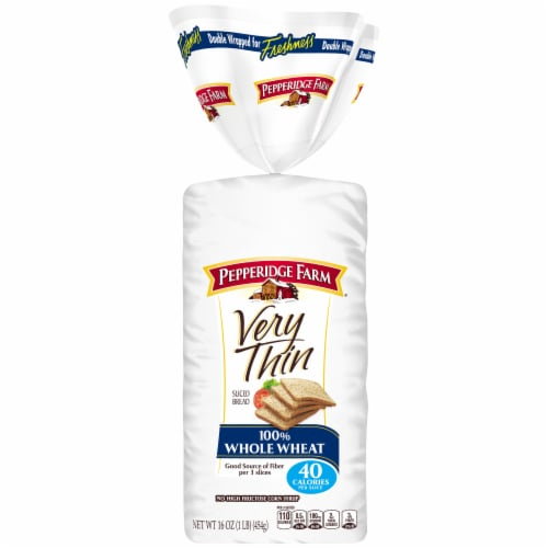 Pepperidge Farm Very Thin 100% Whole Wheat Bread Perspective: front