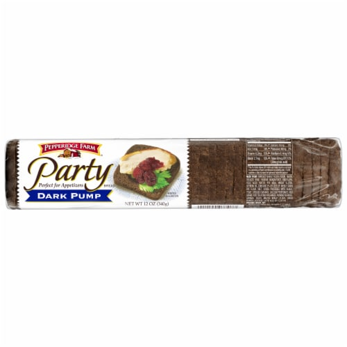Pepperidge Farm Dark Pumpernickle Party Bread Perspective: front
