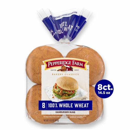 Pepperidge Farm Bakery Classics 100% Whole Wheat Hamburger Buns Perspective: front