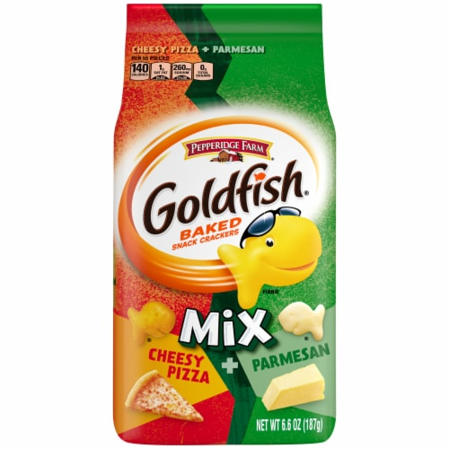 Goldfish Mix Cheesy Pizza + Parmesan Baked Snack Crackers Perspective: front