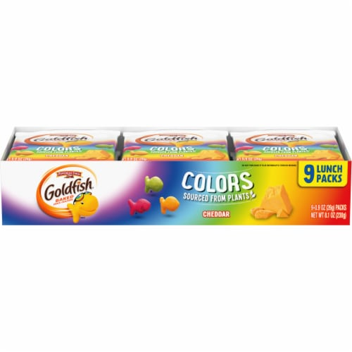 Goldfish Colors Cheddar Baked Snack Crackers Lunch Packs Perspective: front