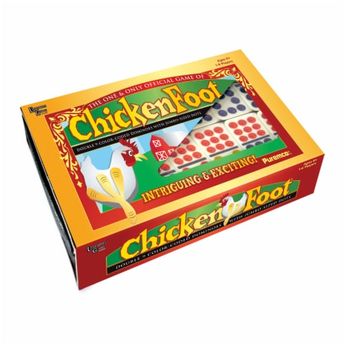 University Games ChickenFoot Professional Size Double 9 Color Dot Dominoes Perspective: front