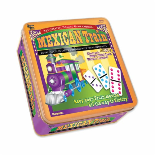 University Games Mexican Train Professional Size Double 12 Color Dot Dominoes Perspective: front