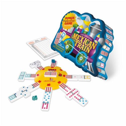 University Games Mexican Train Deluxe Traditional Double 12 Domino Set Perspective: front
