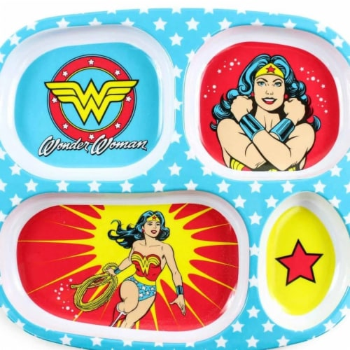 Wonder Woman 809881 Wonder Woman Melamine Divided Plate Perspective: front