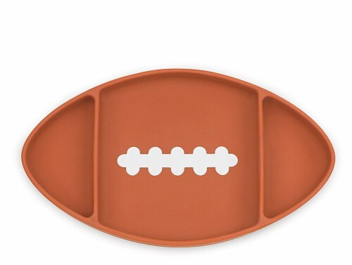 Bumkins Silicone Grip Football Shapped Dish - Brown Perspective: front