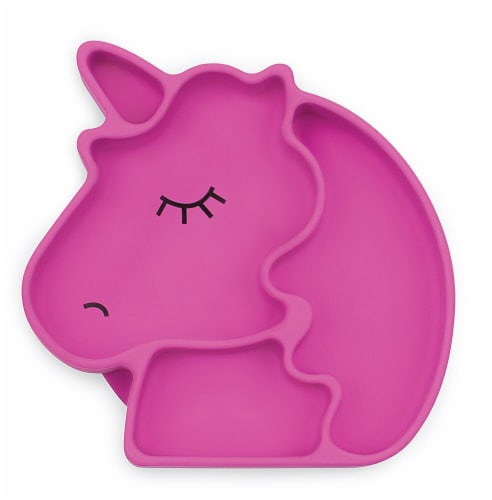 Bumkins Silicone Grip Unicorn Shapped Dish - Pink Perspective: front