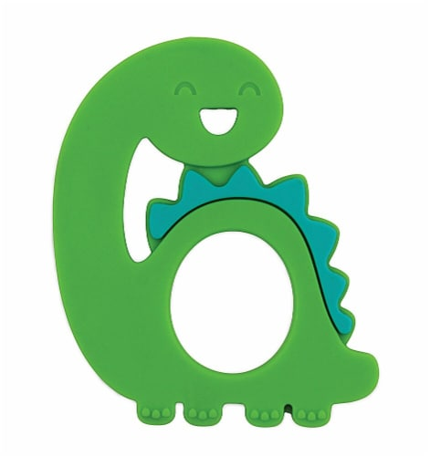Bumkins Silicone Happy Dinosaur Teether - Green Perspective: front