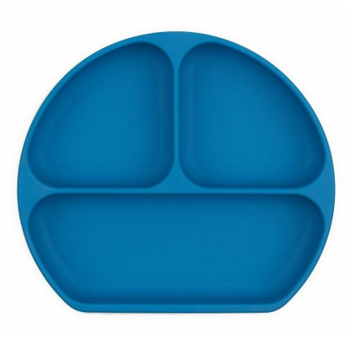 Bumkins Silicone Grip Dish - Blue Perspective: front