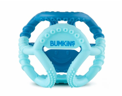 Bumkins Silicone Sensory Teether - Blue Perspective: front