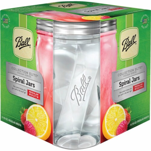 Ball Collection Elite Design Series Spiral Mason Jar - Clear Perspective: front