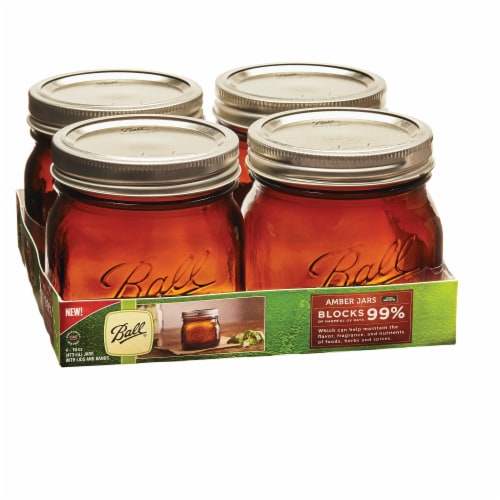Ball Jars with Lids and Bands - Amber Perspective: front