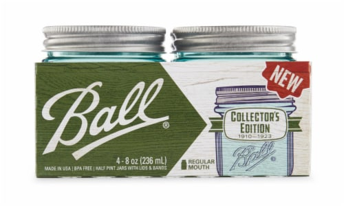 Ball Collector's Edition Regular Mouth Half Pint Glass Jars with Lids and Bands - Aqua Perspective: front