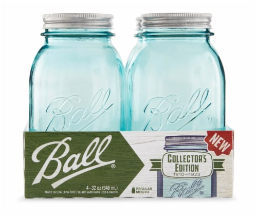 Ball Collector's Edition Regular Mouth Quart Jars - 4 Pack - Aqua Perspective: front