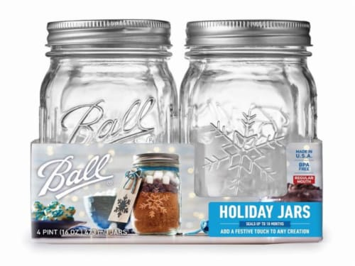 Ball Regular Mouth Glass Keepsake Holiday Jars with Lids and Bands - Clear Perspective: front
