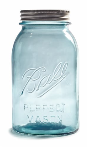 Ball Perfect Mason Vintage Quart Jar - Aqua Perspective: front