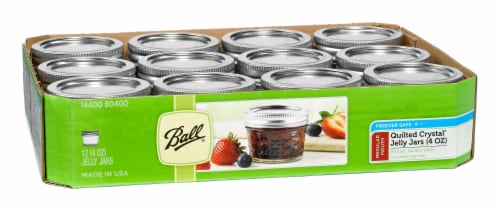 Ball Quilted Crystal Regular Mouth Glass Jelly Jars – 12 Pack Perspective: front