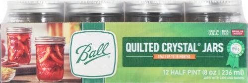 Ball Quilted Crystal Regular Mouth Canning Jelly Jars Perspective: front