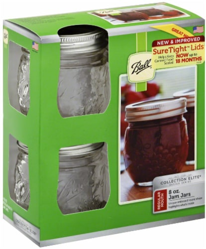Ball Collection Elite Design Series Regular Mouth Jam Jars - Clear Perspective: front