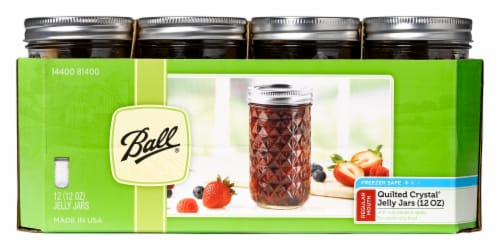 Ball Regular Mouth Quilted Crystal Jelly Jars - 12 Pack - Clear Perspective: front
