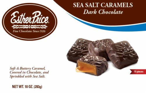 Esther Price Dark Chocolate Sea Salt Caramels Boxed Candy Perspective: front