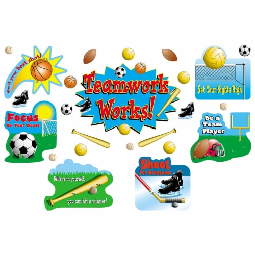 Sports/Teamwork Bulletin Board Display Set Perspective: front