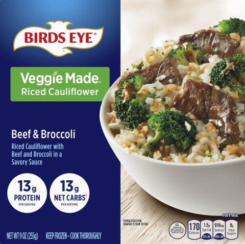 Birds Eye Veggie Made Beef and Broccoli Bowl with Riced Cauliflower Frozen Meal Perspective: front