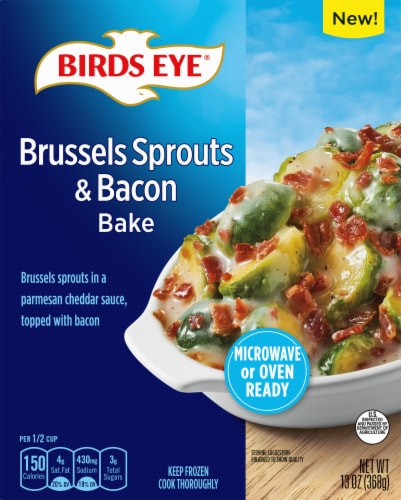 Birds Eye Brussels Sprouts & Bacon Bake Frozen Side Dish Perspective: front