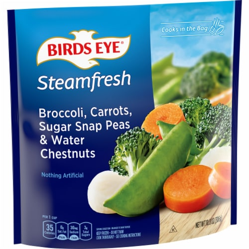 Birds Eye Steamfresh Mixtures Broccoli Carrots Peas Water Chestnuts Perspective: front