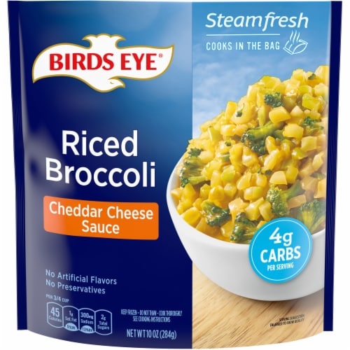 Birds Eye Steamfresh Veggie Made Cheddar Cheese Sauce Riced Broccoli Perspective: front