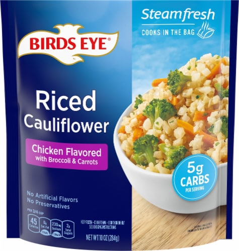 Birds Eye Steamfresh Veggie Made Chicken Flavored Riced Cauliflower Perspective: front
