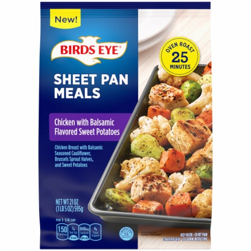 Birds Eye Sheet Pan Chicken With Balsamic Flavored Sweet Potatoes Frozen Meal Perspective: front
